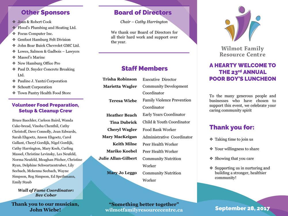 WFRC Fundraiser Sponsor Brochure