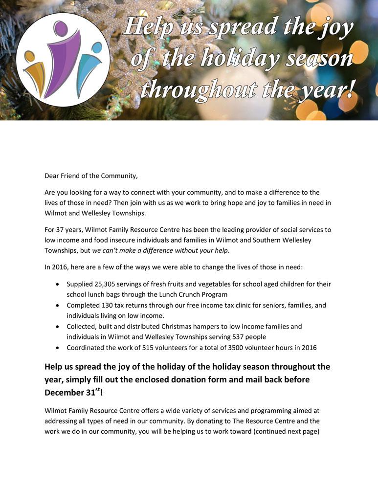 WFRC Christmas fundraising letter