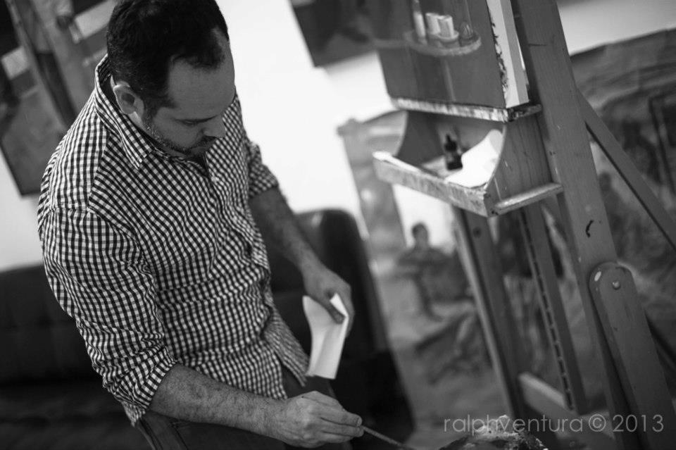 Jason Aponte at work in his studio at Bakehouse Art Complex. Photo provided by  Ralph Ventura