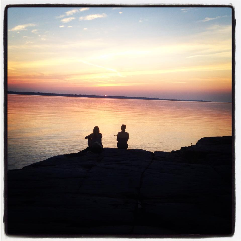 My  Midwife friend Kathleen and I taking time to enjoy a sunset and let our bodies relax.
