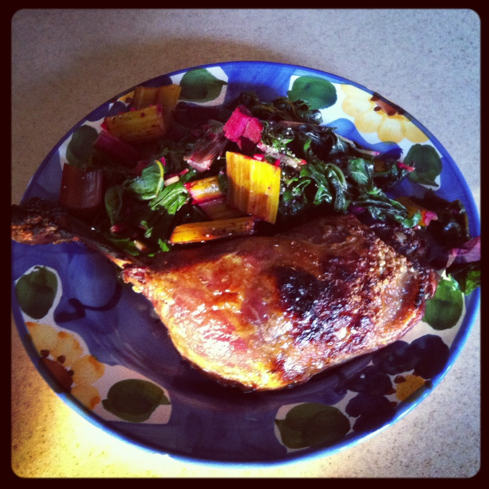 Hello duck leg and sauteed rainbow chard! This meal is 21-day sugar detox approved !