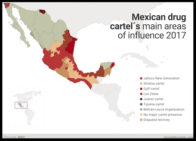 An ever-changing map of cartel territory.  Soruce: BBC/Insight Crime