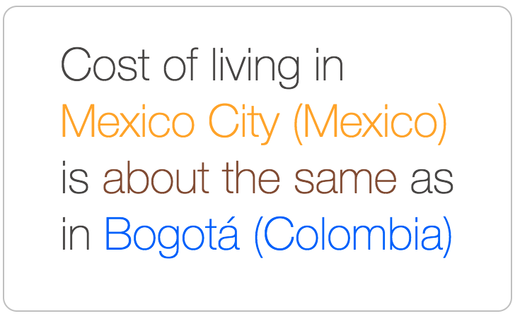 Mexico City costs about the same as Bogota