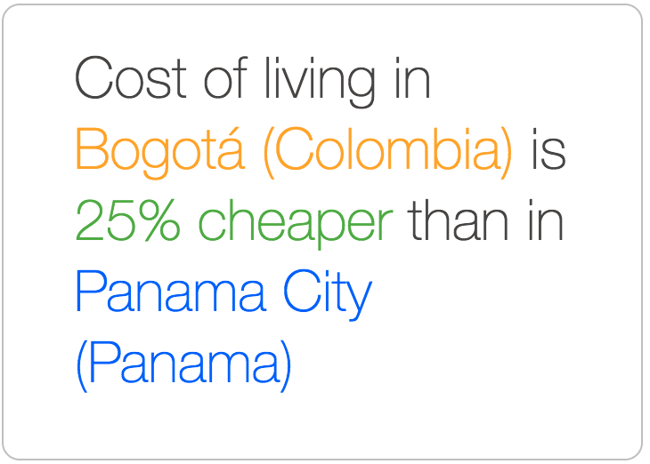 Bogota is cheaper than Panama City