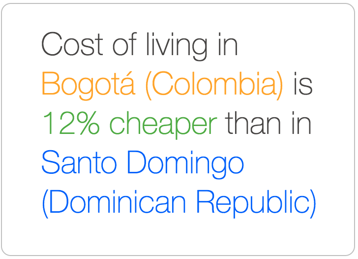 Bogota is cheaper than Santo Domingo