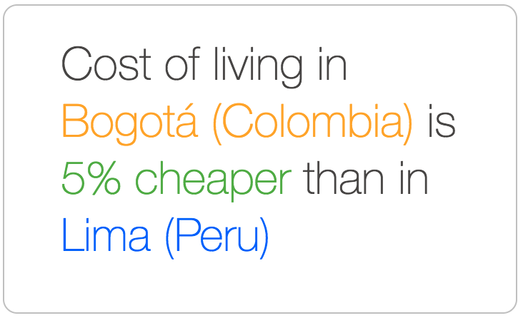 Bogota is cheaper than Lima