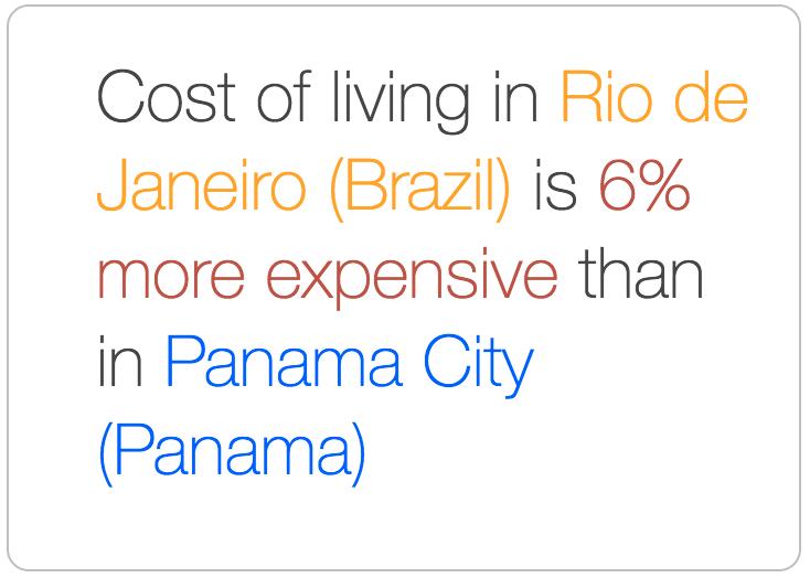 Panama City is cheaper than Rio de Janeiro