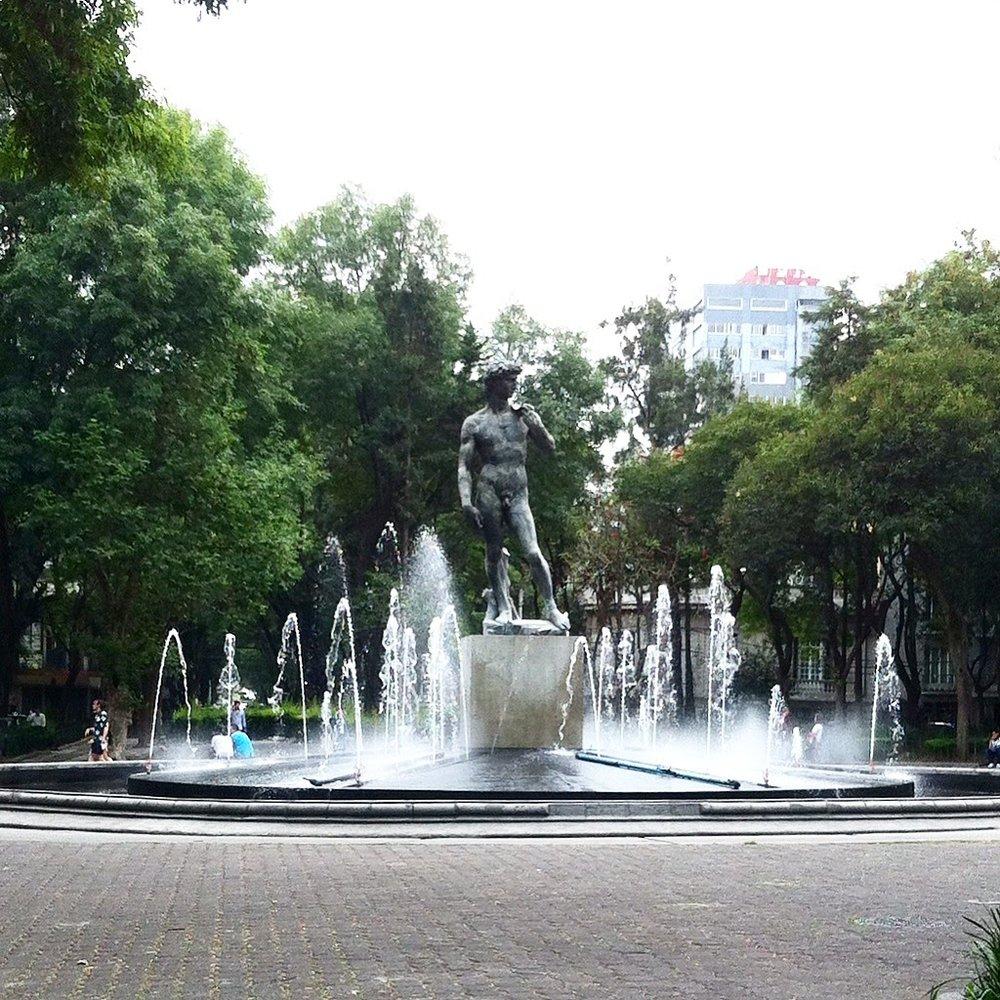 Replica of  Michelangelo 's  David  in Plaza Rio de Janeiro, Roma Norte.