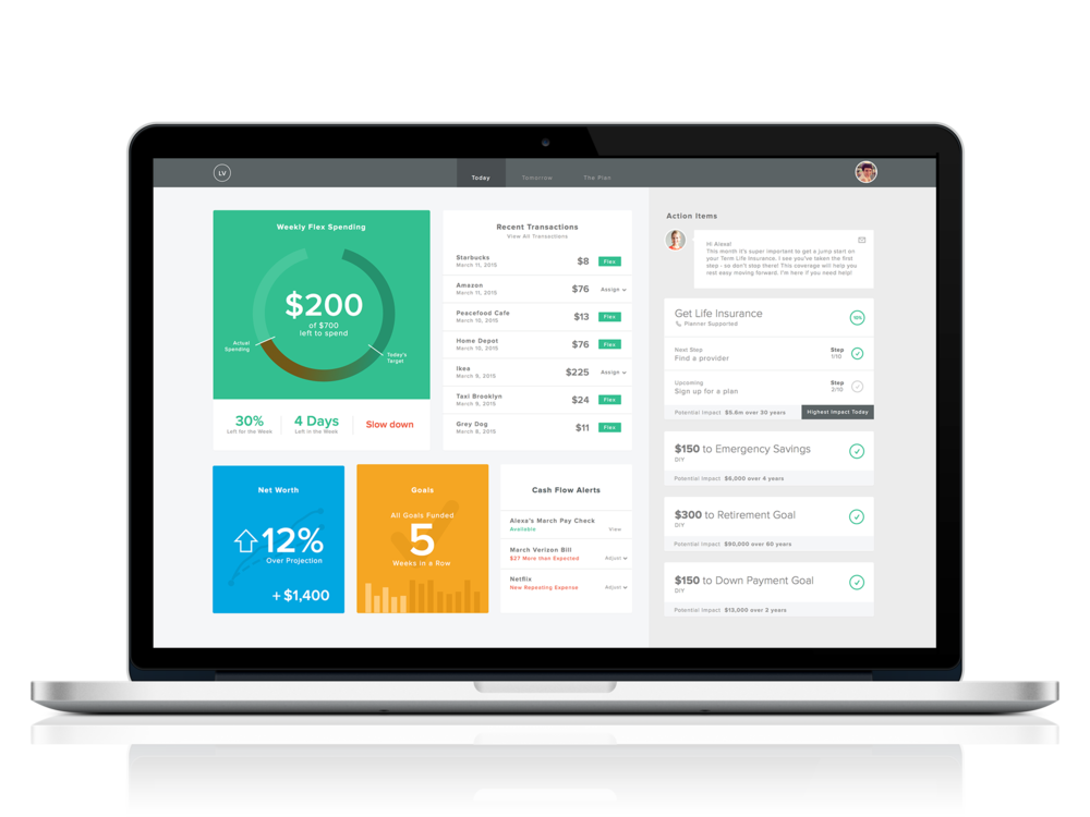 Dashboard View -- A client can track their Financial Plan and Flex Number and receive actionable items that they can accomplish to make progress on their goals