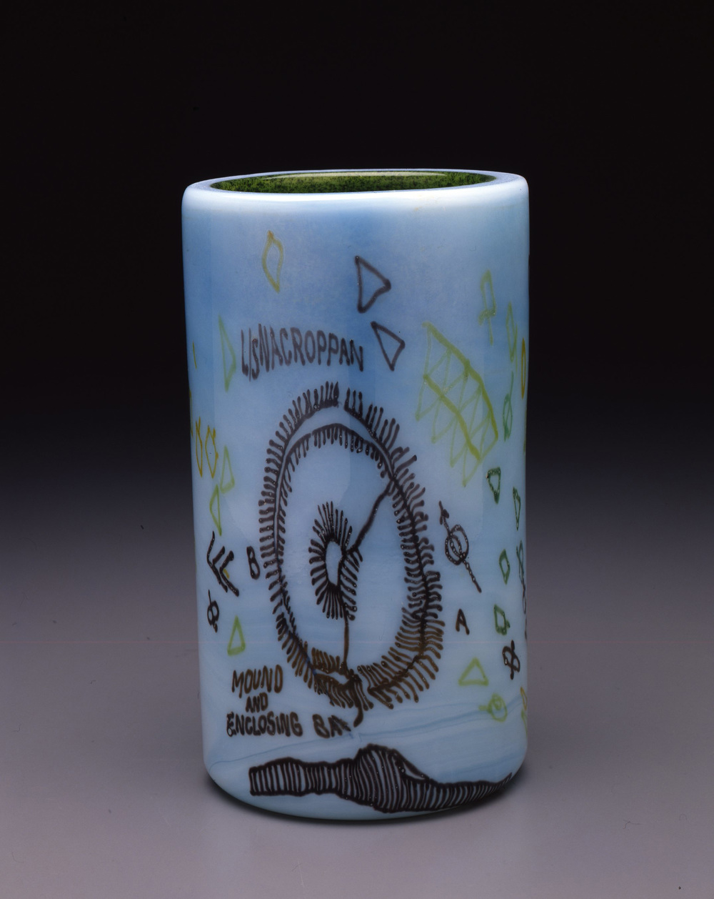Dale Chihuly,  Irish Cylinder #9   (1975, glass, 10 1/2 x 6 inches), DC.271