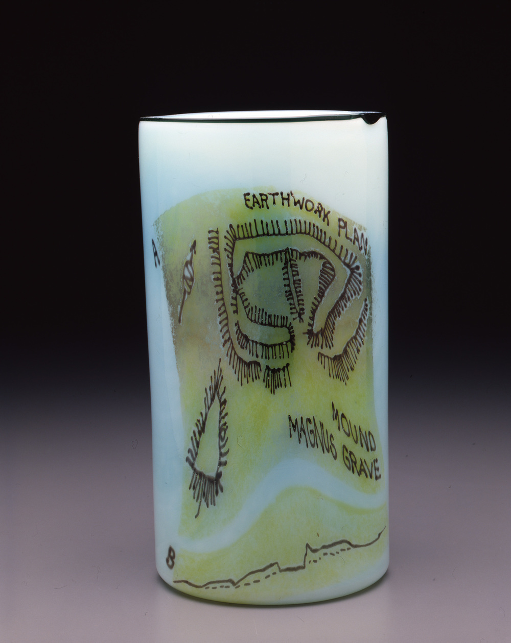 Dale Chihuly,  Irish Cylinder #15   (1975, glass, 12 1/2 x 6 1/2 inches), DC.277