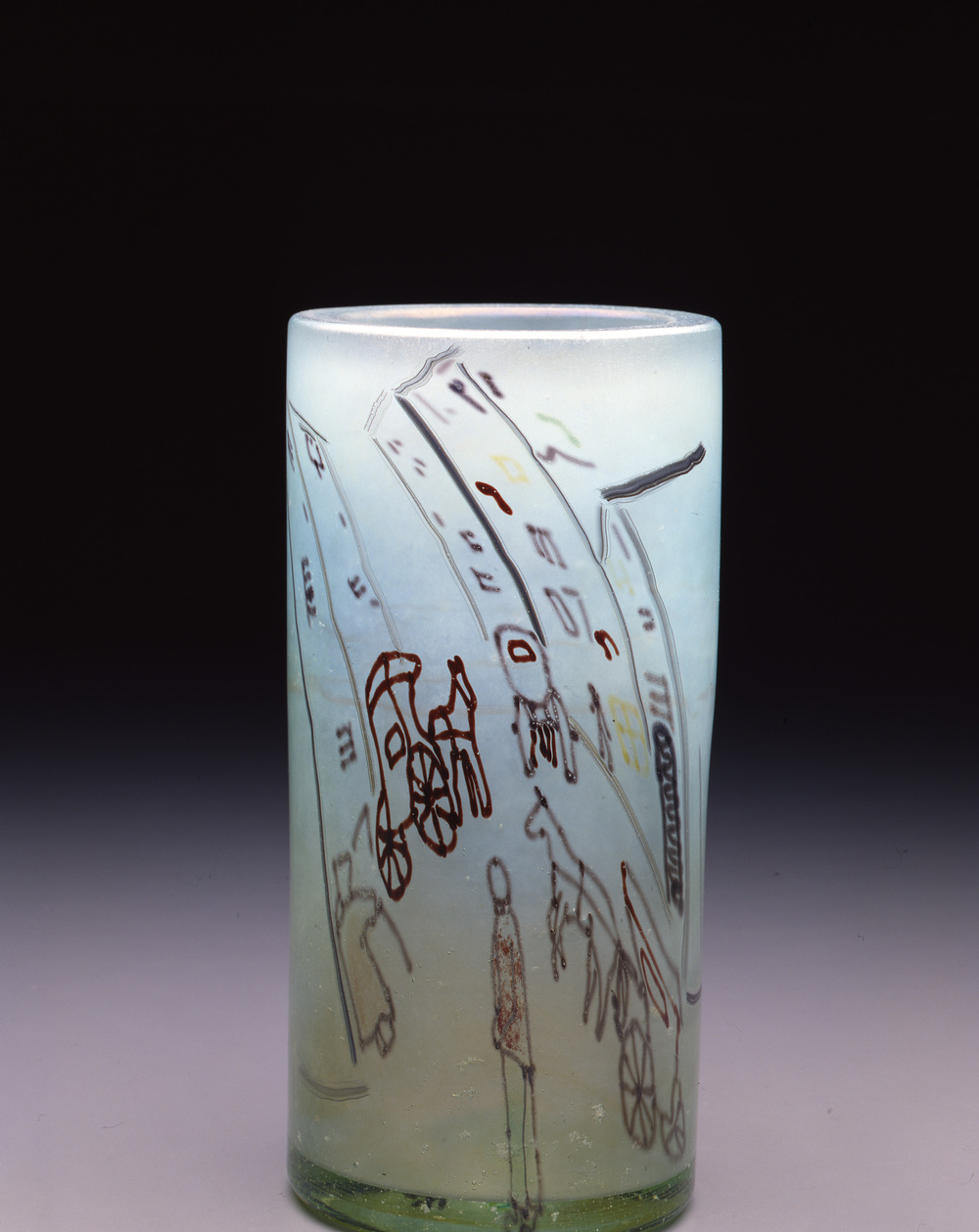 Dale Chihuly,  Irish Cylinder #19   (1975, glass, 11 1/2 x 5 1/2 inches), DC.281