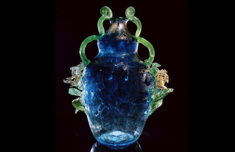 Dale Chihuly,  Translucent Cerulean Putti Venetian with Green Coils  (1993, glass, 24 x 21 x 14 inches), DC.15