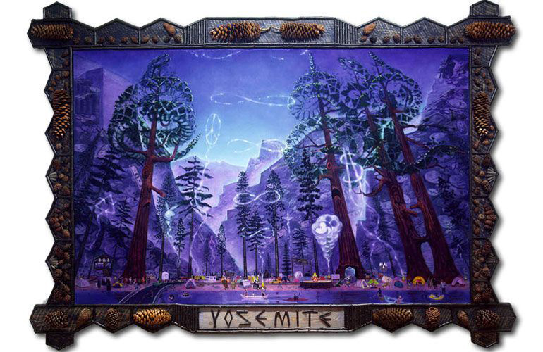 Frank Moore,  Yosemite  (1993, oil on canvas with wood frame and pinecone attachments, 105 x 149 inches), FRM.1