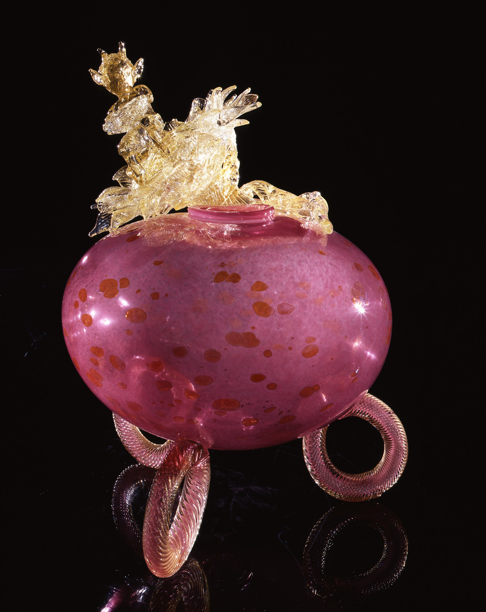 Dale Chihuly,  Spotted Raspberry Putti Venetian with Devil on Sunflower  (1994, glass, 19 x 16 x 14 inches)