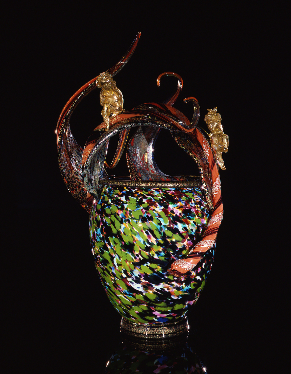 Dale Chihuly,  May Green Spotted Venetian with Two Putti  (1991, glass, 27 x 17 x 16 inches)