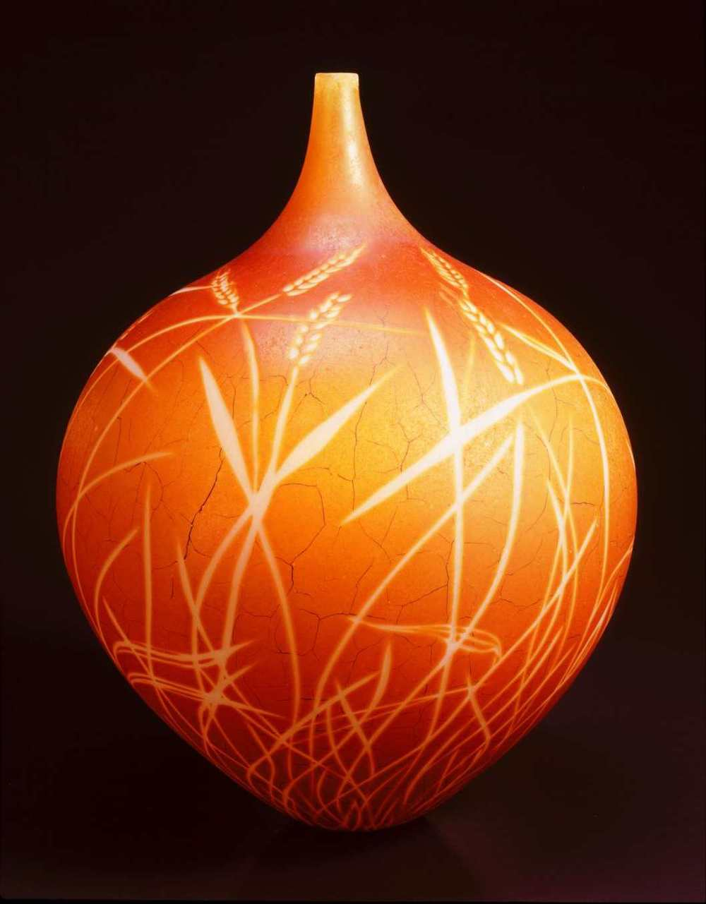 William Morris,  Vase with Grass (Amber)  (2004, glass, 20 1/2 x 15 3/4 x 15 3/4 inches), WM.21