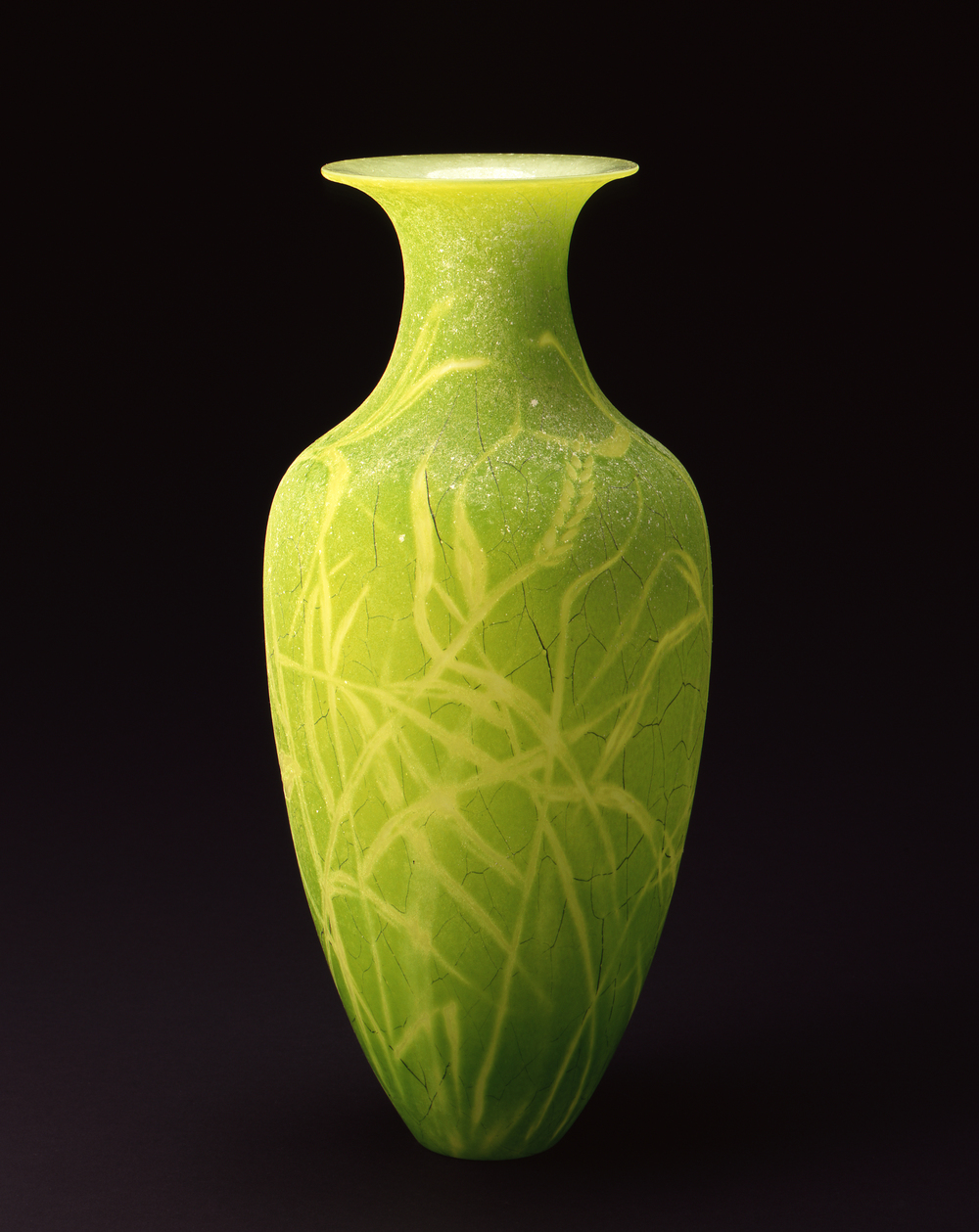 William Morris,  Vase with Wild Grass (Green)  (2004, glass, 18 5/8 x 8 1/2 x 8 1/2 inches), WM.20