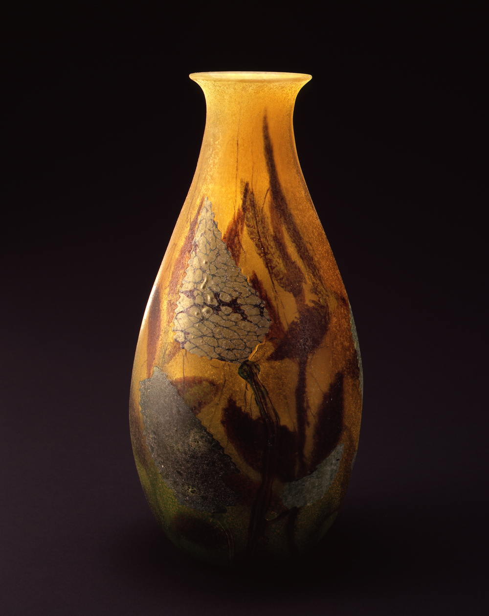 William Morris,  Vase with Leaf Forms  (2004, glass, 18 3/4 x 9 1/8 x 9 1/4 inches), WM.25