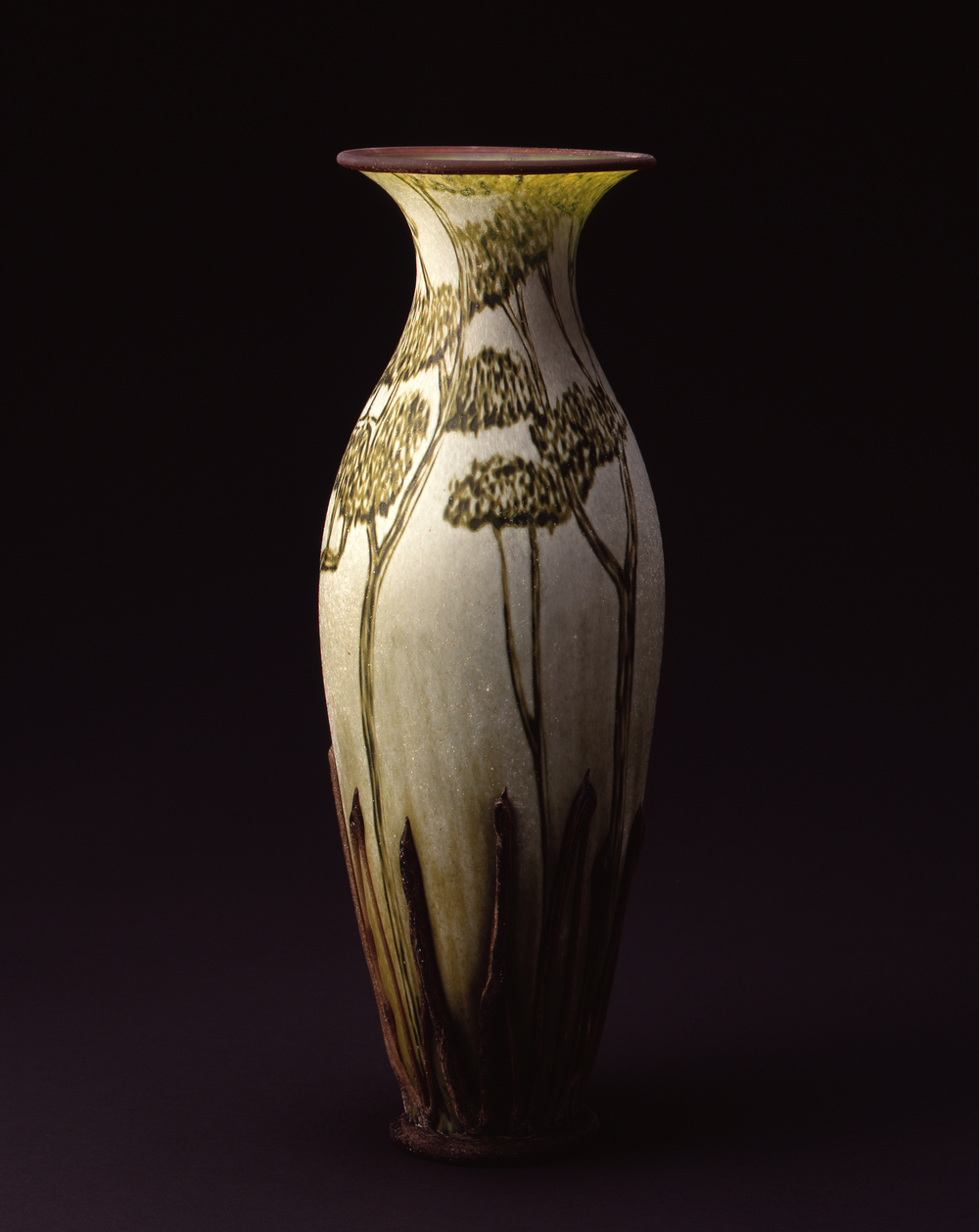 William Morris,  Vase with Trees and Pods  (2004, glass, 18 1/4 x 6 3/8 x 6 3/8 inches), WM.26