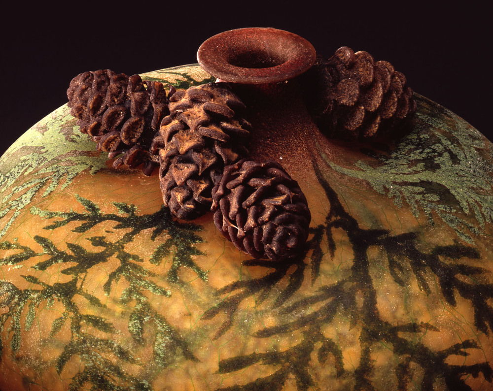 Detail - William Morris,  Vase with Cedar Boughs and Cedar Cones    (2004, glass, 7 7/8 x 9 1/8 x 9 1/8 inches), WM.30