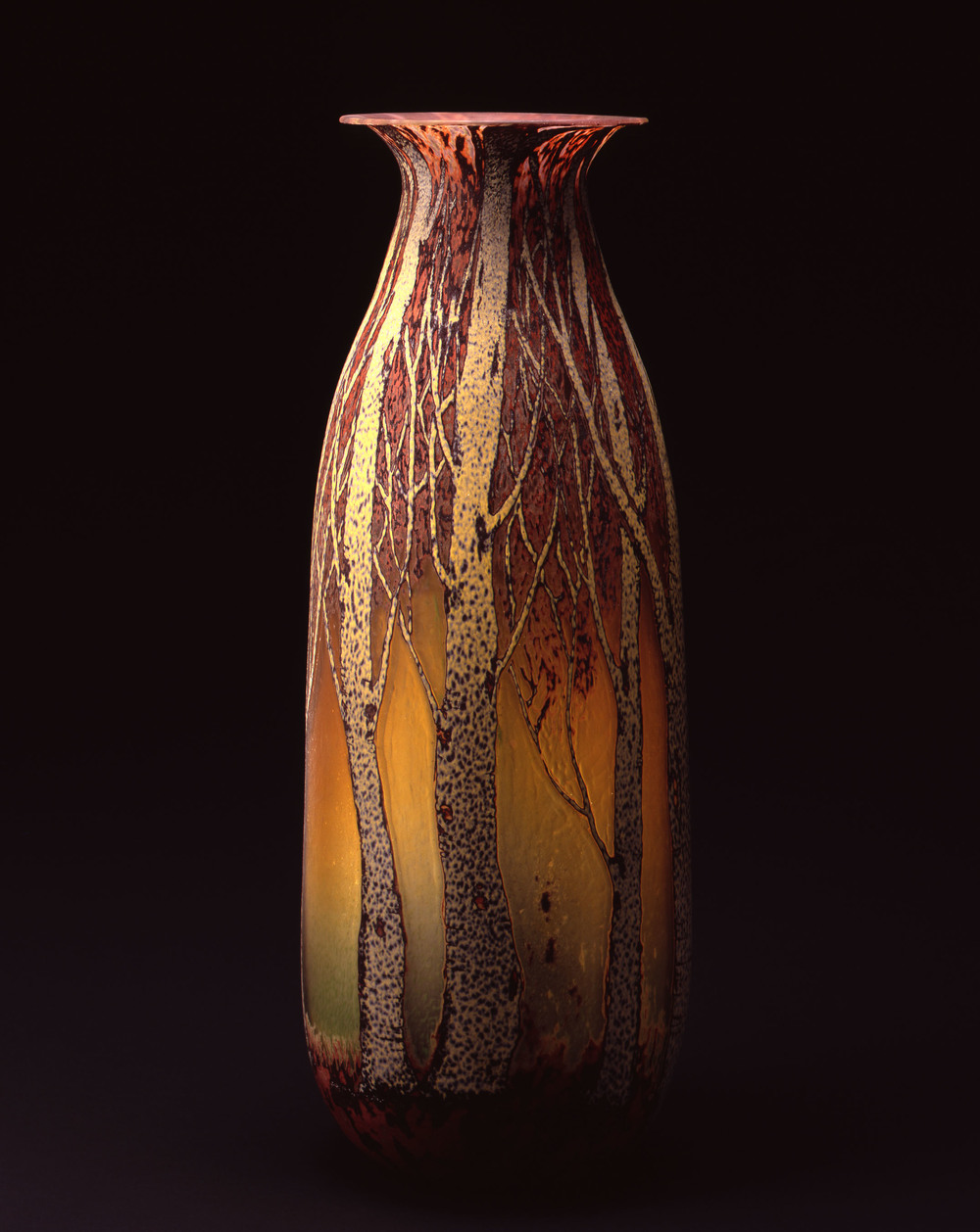 William Morris,  Vase with Aspen Tree Grove    (2004, glass,26 1/2 x 10 x 10 inches), WM.32