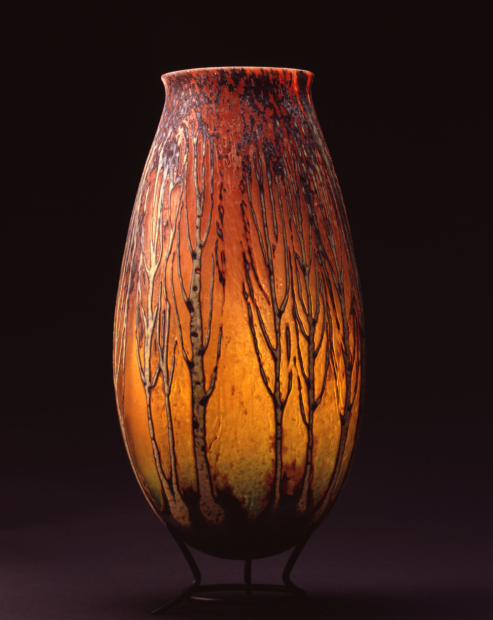 William Morris,  Vase with Poplar Tree Grove    (2004, glass, 15 x 7 1/8 x 7 1/8 inches), WM.33