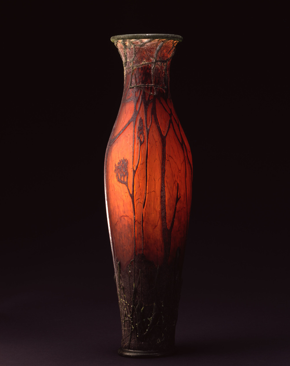 William Morris,  Vase with Grass and Trees    (2004, glass, 16 x 11 x 10 3/8 inches), WM.35