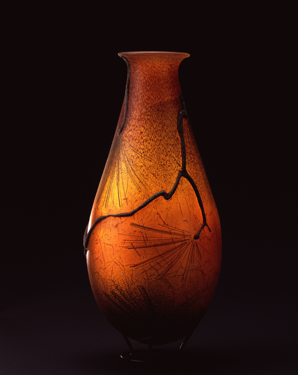 William Morris,  Vase with Ponderosa Pine Branches    (2004, glass, 18 5/8 x 8 1/4 x 8 1/8 inches), WM.42