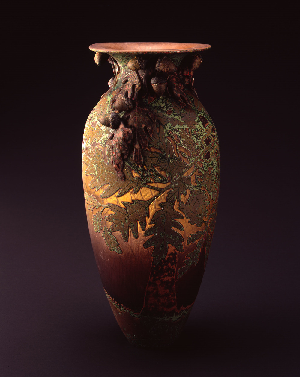 William Morris,  Vase with Oak Leaves and Acorns    (2004, glass, 18 1/4 x 8 x 8 inches), WM.44