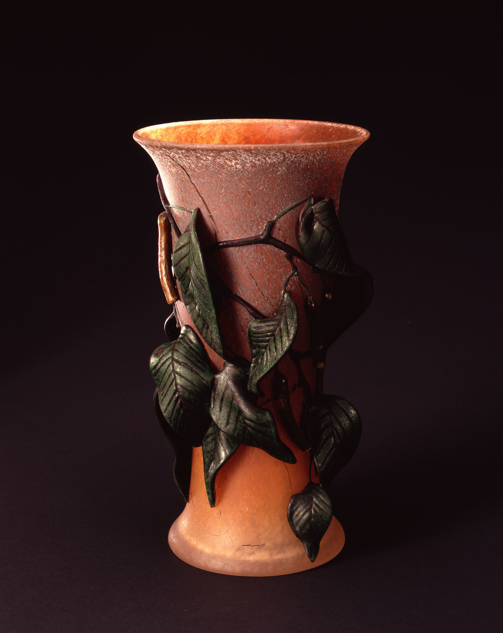 William Morris,  Vase with Leaves and Locust Pods    (2004, glass, 11 3/8 x 6 1/4 x 6 1/4 inches), WM.46