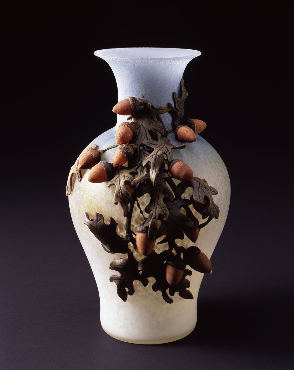 William Morris,  Ice Blue Vase with Oak Leaves and Acorns    (2004, glass, 13 1/2 x 8 3/4 x 7 3/4 inches), WM.45