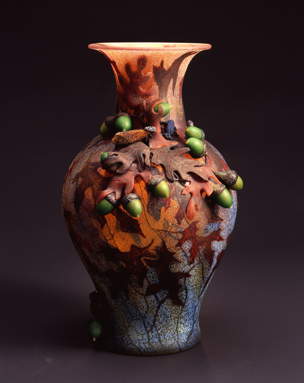 William Morris,  Vase with Oak Leaves, Acorns and Moth    (2004, glass, 15 11/16 x 9 1/4 x 8 3/4 inches), WM.47