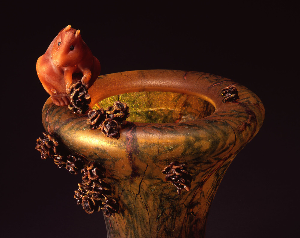 Detail - William Morris,  Vase with Cedar Boughs and Golden-mantled Ground Squirrels  (2004, glass, 14 3/4 x 10 1/4 x 9 5/8 inches), WM.55