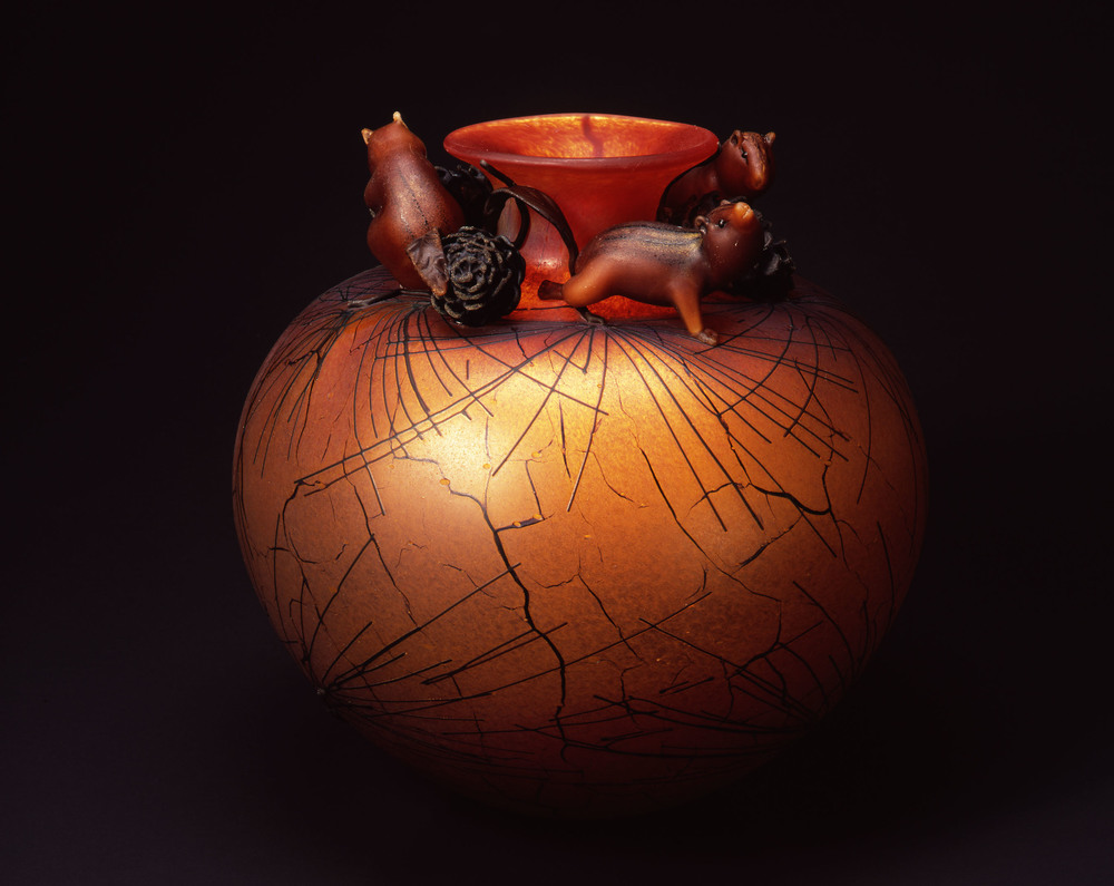 William Morris,  Globe Vessel with Ponderosa Pine Needles and Golden-mantled Ground Squirrels  (2004, glass, 16 x 16 x 16 inches), WM.57