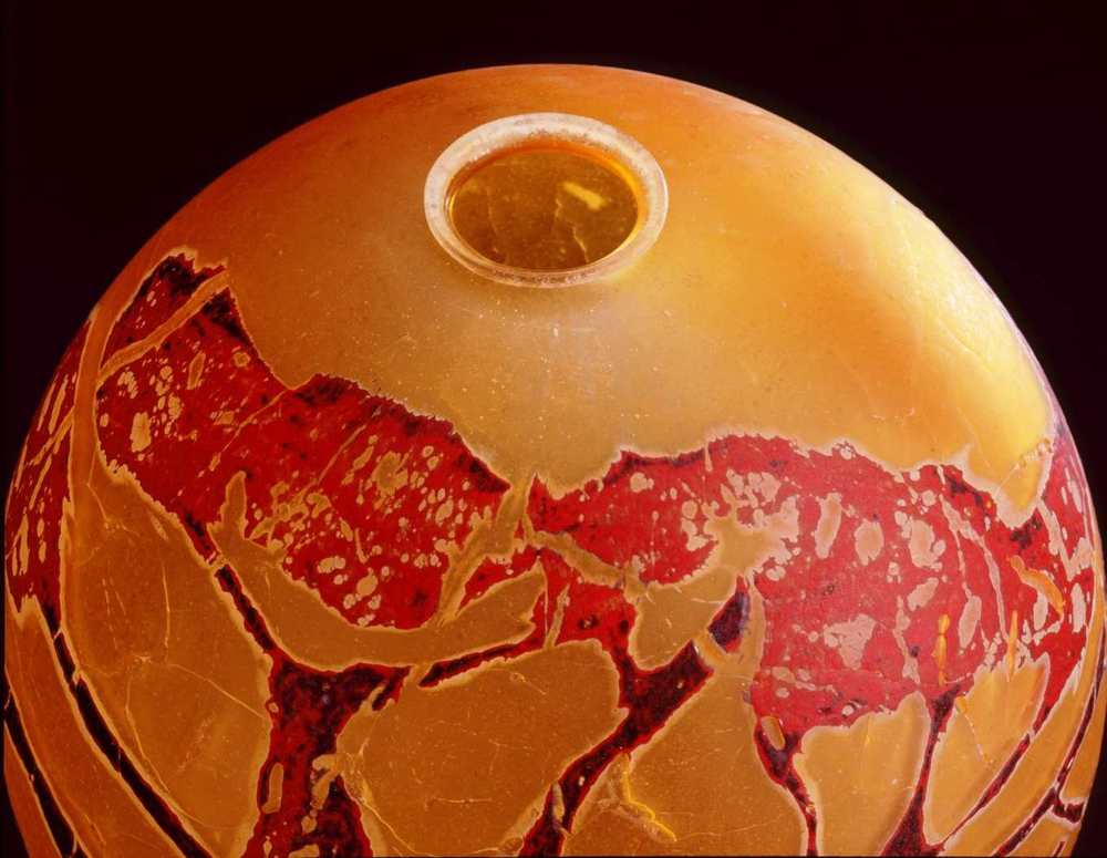 Detail - William Morris,  Globe Vessel with Juniper Tree Form  (2004, glass, 11 1/8 x 9 3/4 x 9 3/4 inches), WM.22