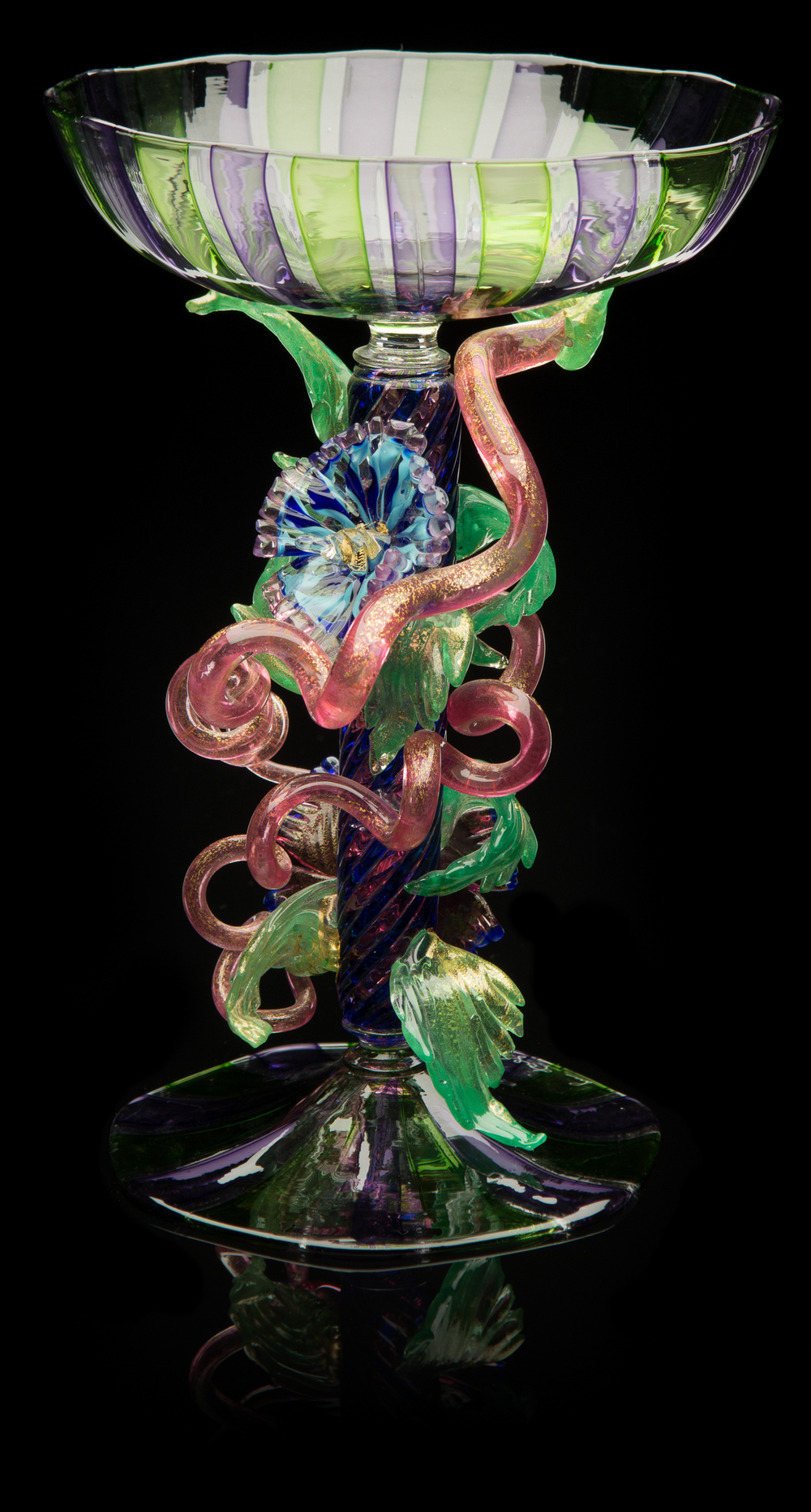 Lino Tagliapietra,  Floral   Goblet  (1991-1994, glass and gold leaf, 9 x 6 1/4 x 6 1/4 inches), LT.58