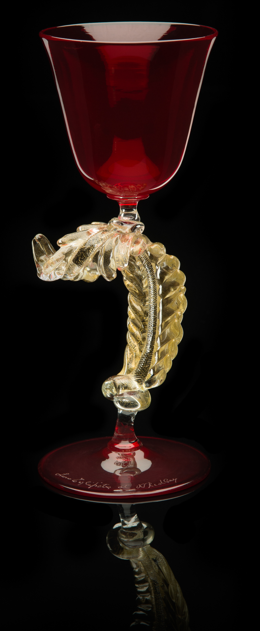 Lino Tagliapietra,  Feather-stem   Goblet  (1991-1994, glass and gold leaf, 7 1/2 x 3 x 3 inches), LT.64