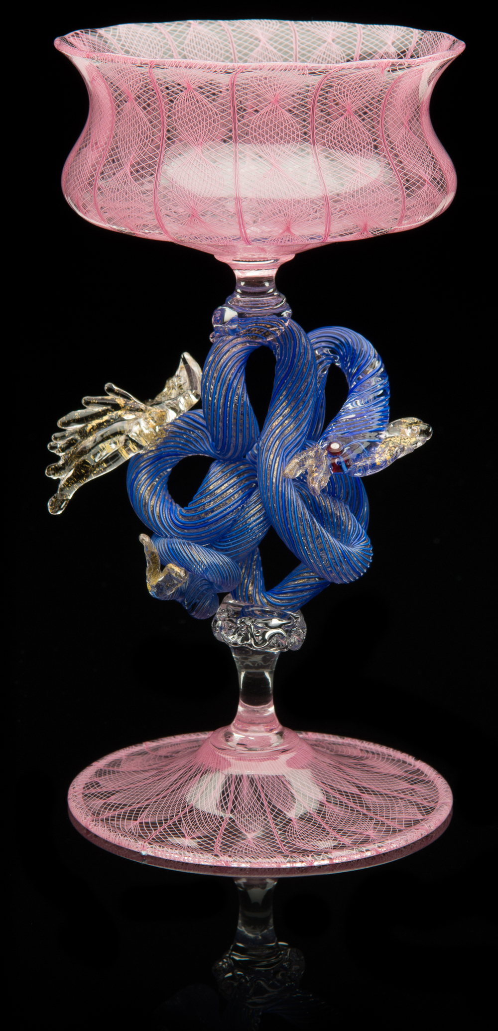 Lino Tagliapietra,  Serpent-stem   Goblet  (1991-1994, glass, 5 5/16 x 3 5/8 x 3 5/8 inches), LT.51