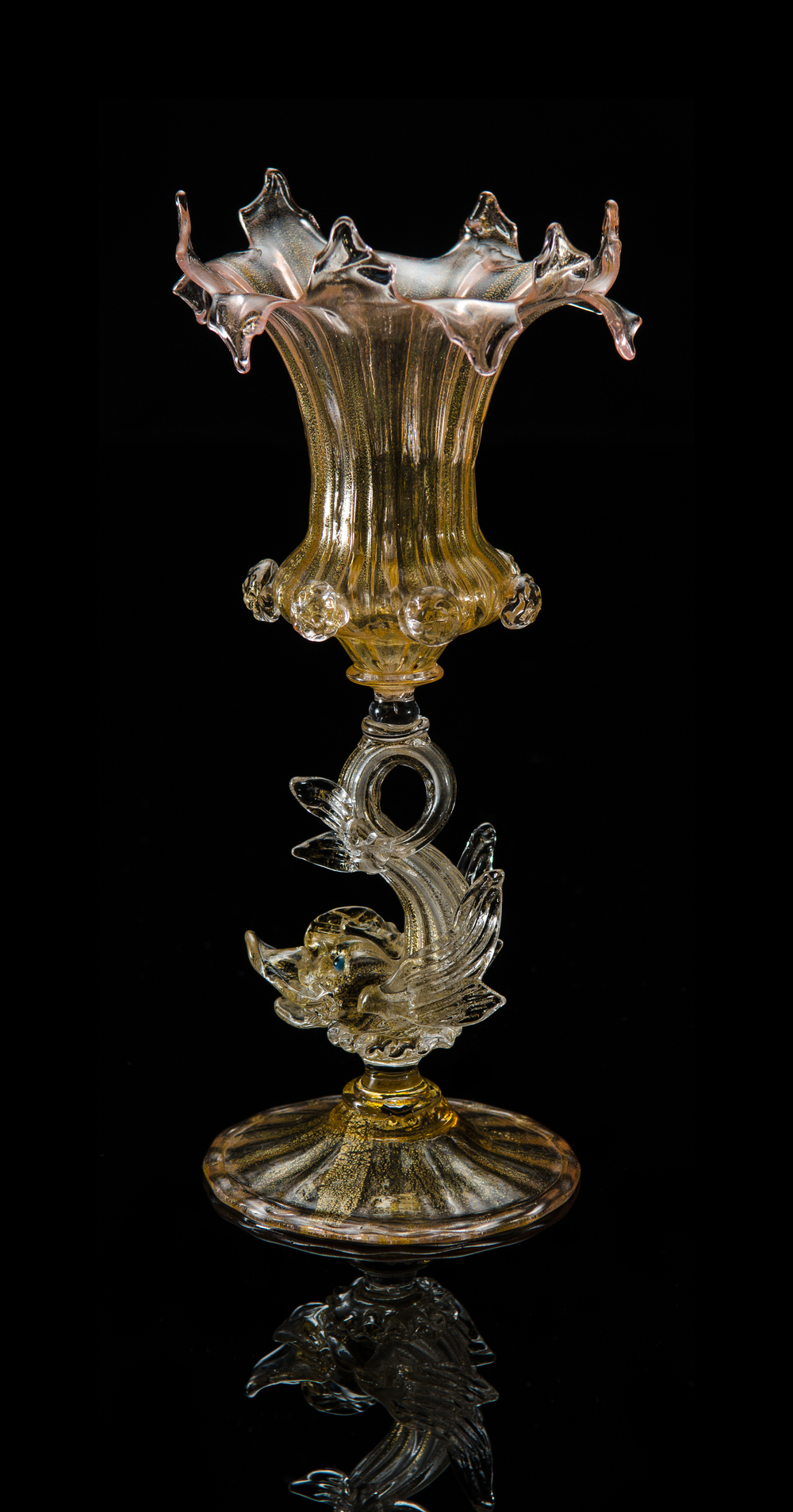 Salviati and Company,  Vase with Dolphin Stem  (circa 1898, glass), VV.12