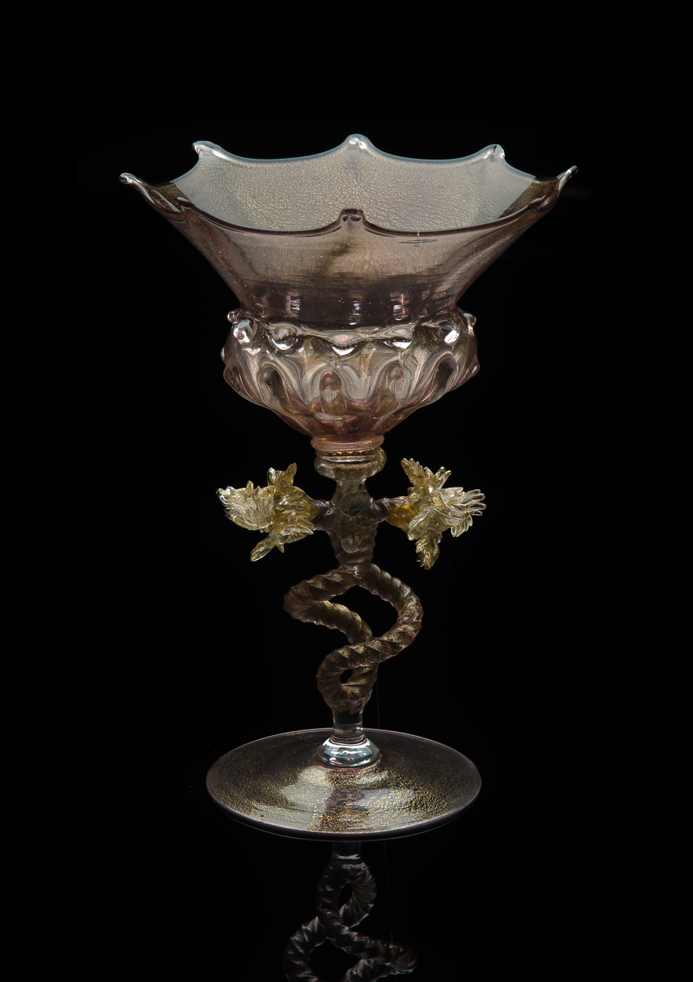 Salviati and Company,  Goblet with Double Helix Stem  (circa 1840 - 1860, glass, 7 x 5 inches), VV.21