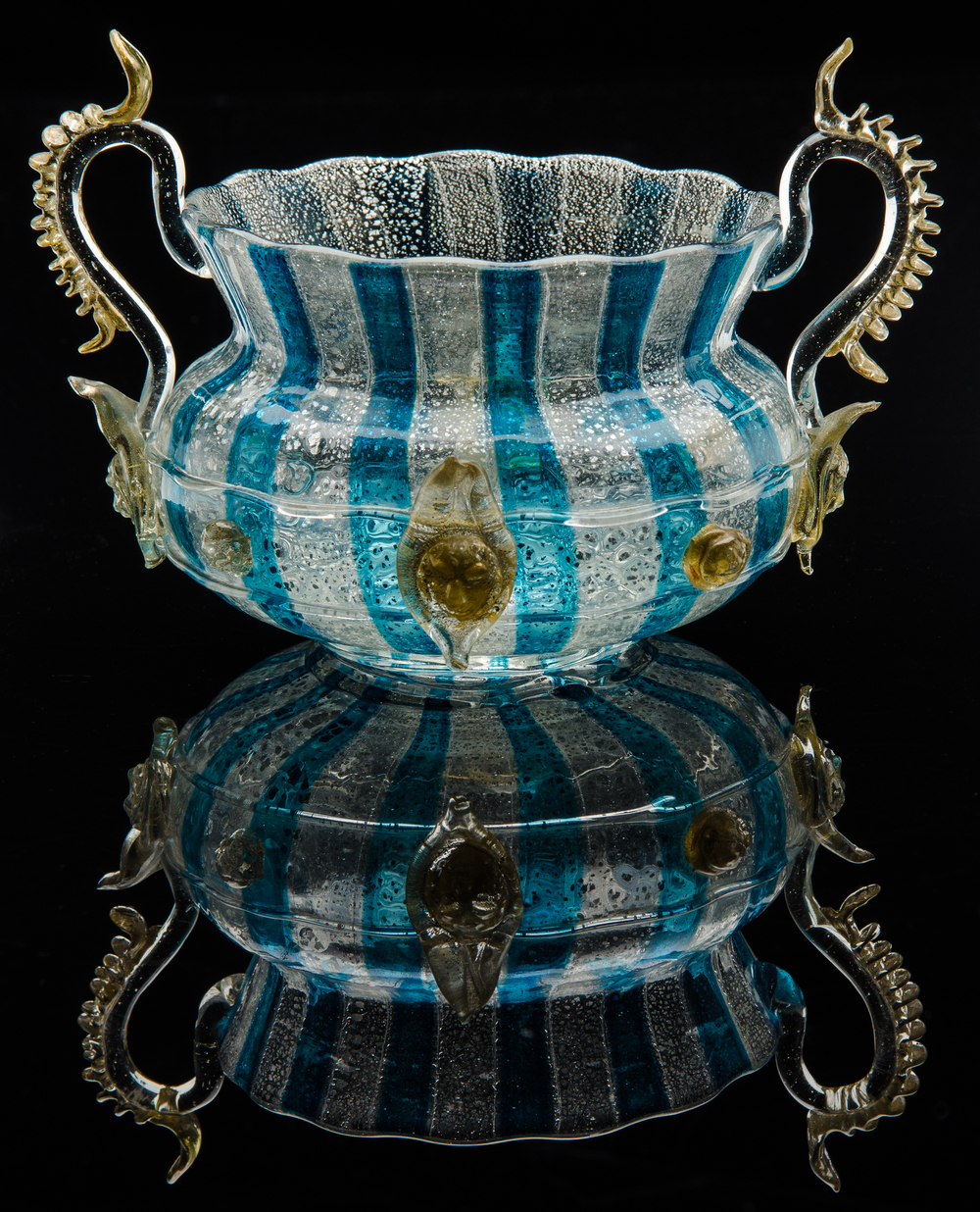 Salviati and Company,  Blue and Clear Double-Handled Bowl with Gold Prunts  (circa 1895, glass), VV.274
