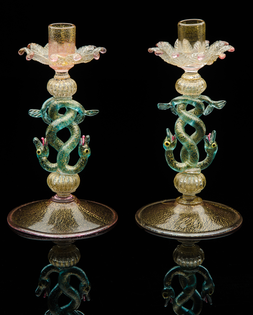 Salviati and Company,  Pair of Aventurine Candlesticks with Double Serpent Stems  (glass), VV.334.1-.2