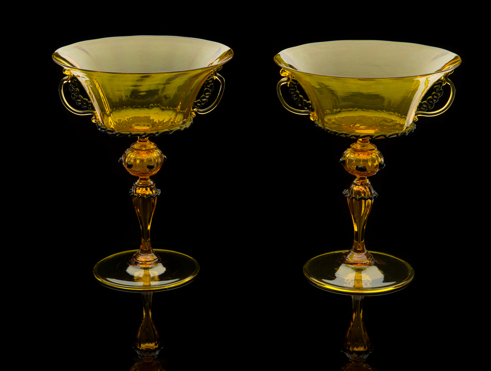 Salviati and Company,  Pair of Black and Yellow Compotes  (glass), VV.395.1-.2