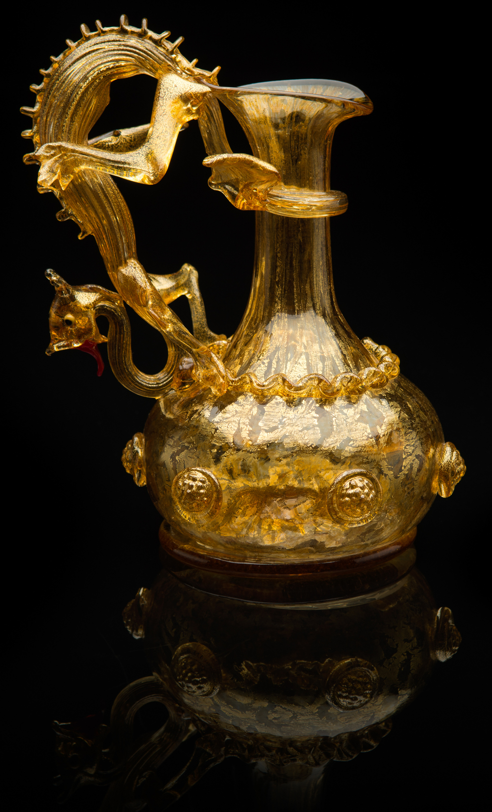 Unknown Venetian,  Amber Aventurine Dragon Ewer  (glass), VV.431