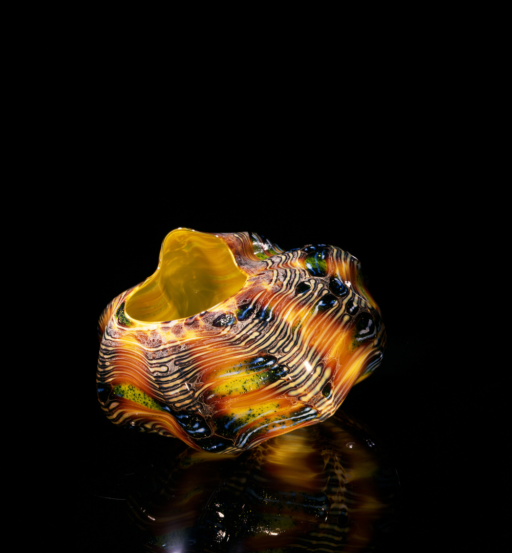 Dale Chihuly,  Cadmium Yellow Macchia with Oxblood and Cobalt Patterns  (1982, glass, 4 x 6 x 6 inches), DC.59