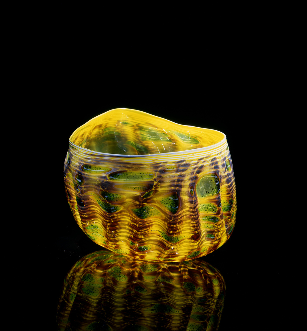 Dale Chihuly,  Yellow Green Macchia with Teal Powder Lip Wrap  (1981, glass, 7 x 8 x 8 inches), DC.102