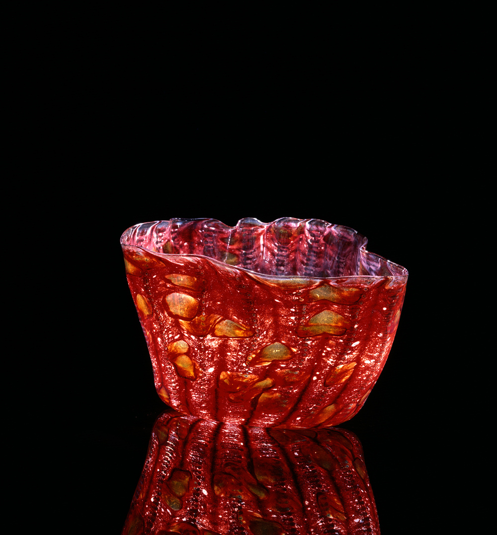 Dale Chihuly,  Prometheus Red Macchia with Sienna Jimmies    (1982, glass, 8 x 9 x 8 inches), DC.112