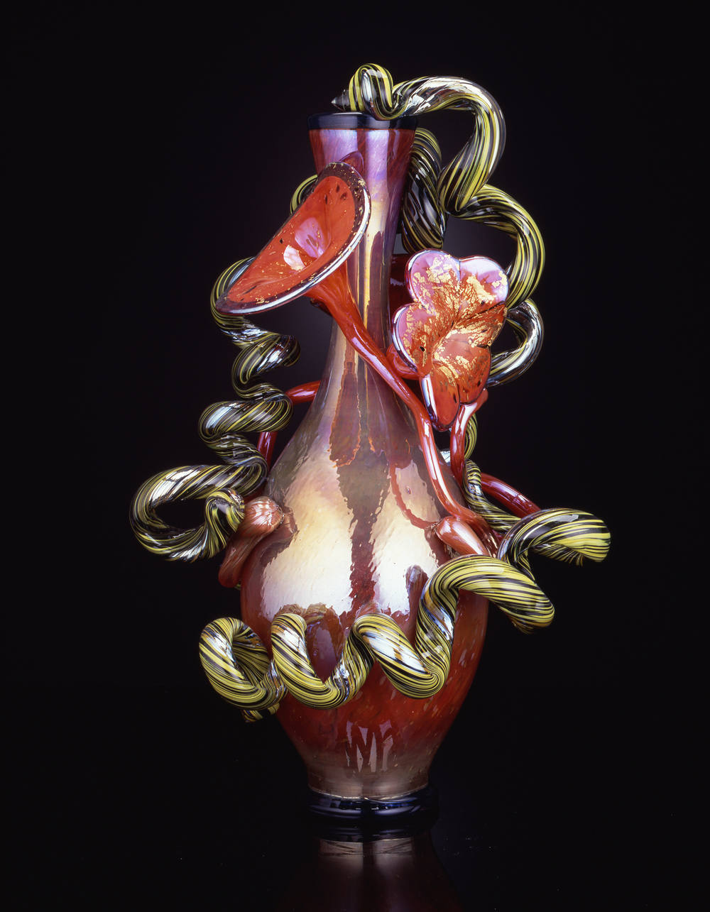 Dale Chihuly,  Iridescent Orange Venetian  (1990, glass, 24 x 14 x 14 inches)