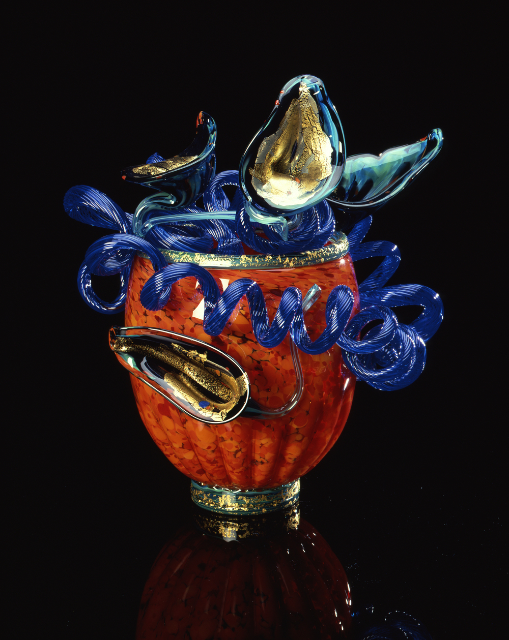 Dale Chihuly,  Cadmium Orange Venetian #350  (1990, glass, 19 x 15 x 13 inches)